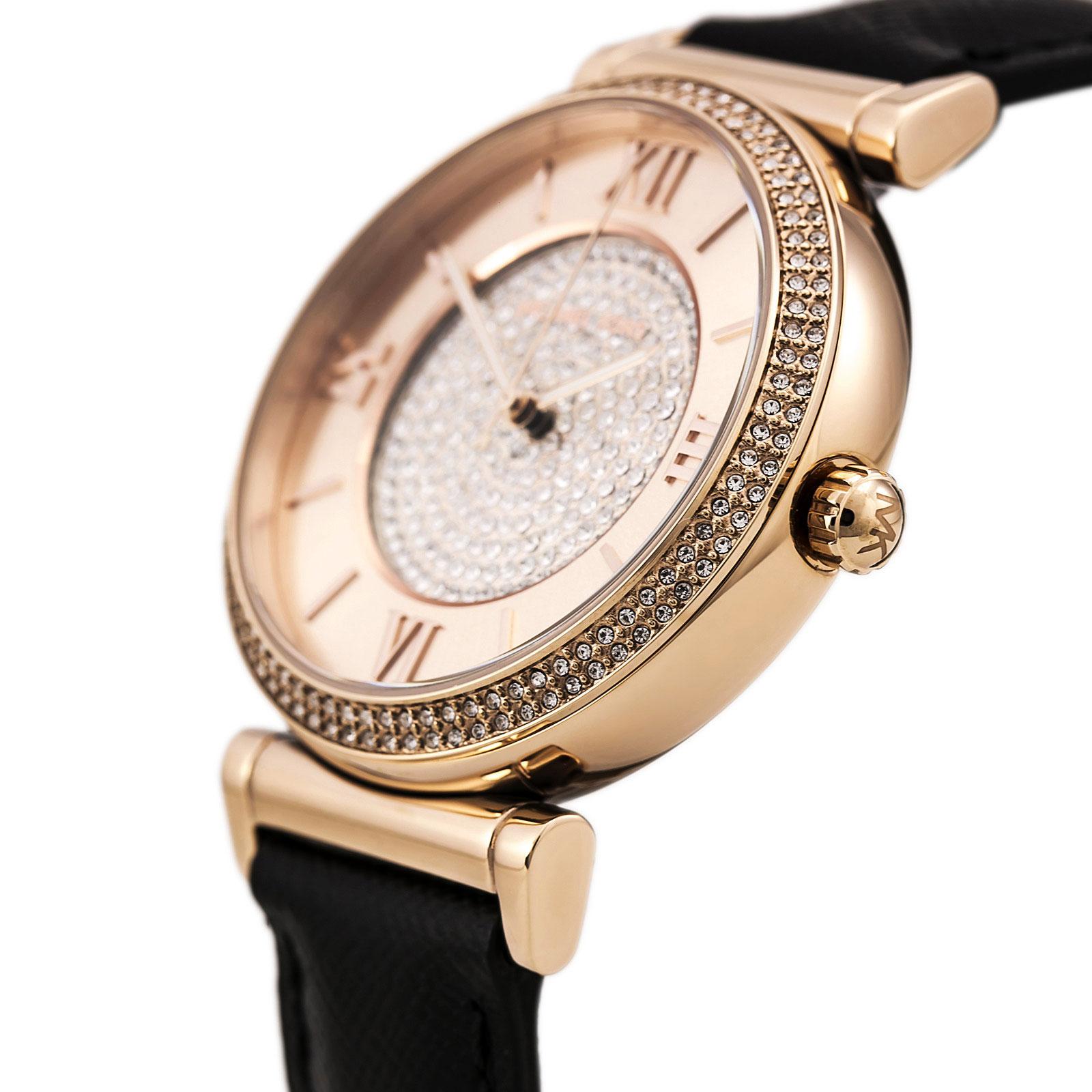 美國Outlet 正品代購 MichaelKors MK 玫瑰金鑲鑽 黑色皮帶三環計時手錶腕錶 MK2376 3