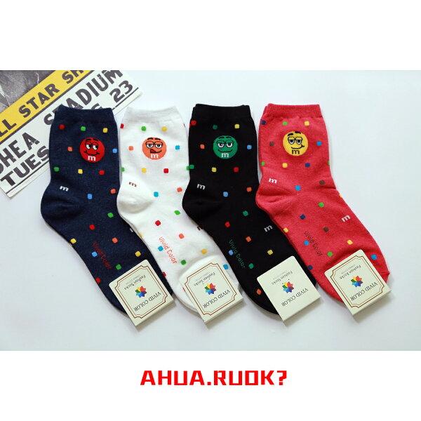 【HOT】韓國襪子正品 M&M巧克力圖案襪