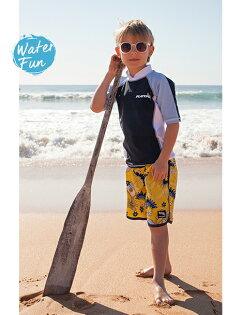 兒童泳衣 澳洲鴨嘴獸 UPF 50+ 抗UV 防曬半長袖上衣+ 海灘褲 套組 (小男4-8歲)  [樂游小舖]