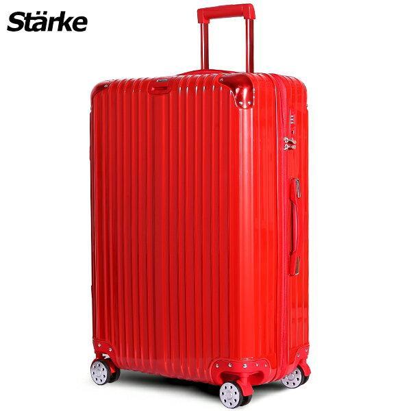 E&J【008002-05】starke  德國設計28吋 PC+ABS 鏡面防爆拉鍊硬殼行李箱 axs97 -紅色