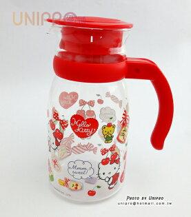 【UNIPRO】Hello Kitty 耐熱玻璃壺 850ml 櫻桃凱蒂貓 冷水壺 三麗鷗正版授權 台灣限定 MIT