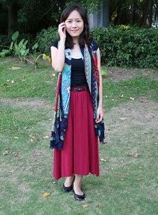 小E舖{SEH0001}素色棉麻長裙 (紅/藍/青綠)