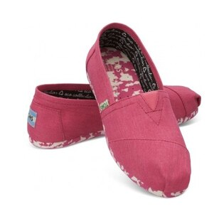 【TOMS】粉紅色花底帆布休閒鞋  Pink Earthwise Women's Vegan Classics
