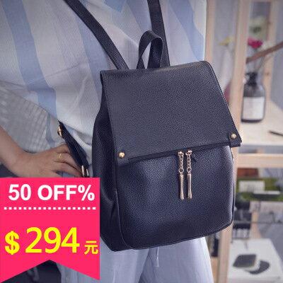 【全店5折】學院風純黑造型拉鍊束口 後背包 包飾衣院 P1679 現貨+預購