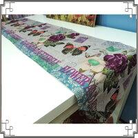 鄉村風zakka雜貨到棉麻桌旗《33X180-16》蝴蝶玫瑰桌旗巾 桌布 桌巾 桌墊 三角桌巾 鄉村風家飾◤彩虹森林◥