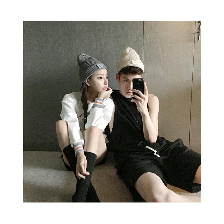 毛帽 笑臉貼布尖尖帽反褶針織毛帽【QI1659】 BOBI  10/13 2