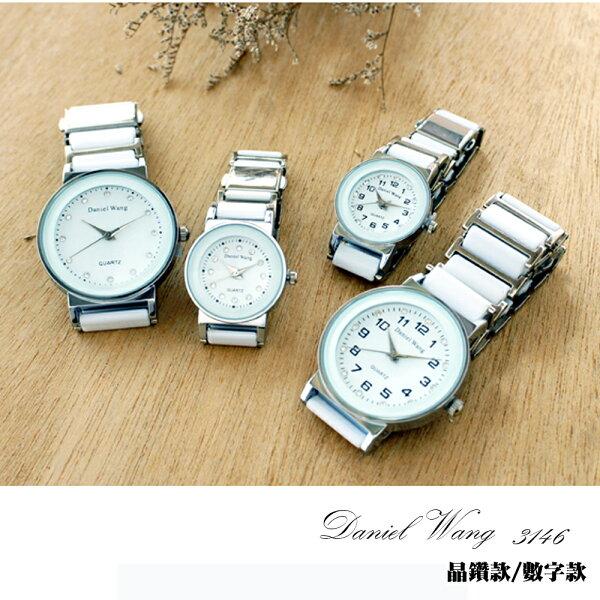 Daniel Wang 3146 氣質美氛多角度切割鏡面仿陶瓷男錶/女錶-數字/晶鑽款