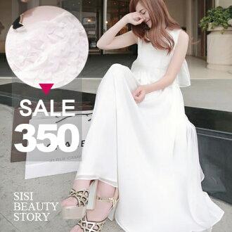 SISI【D6100】韓版立體花朵雪紡小禮服 無袖縮腰綁帶假兩件式連身裙波浪層次長裙洋裝