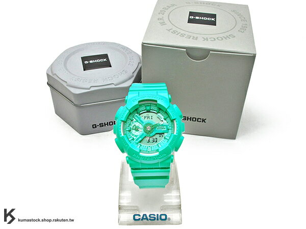 kumastock 2016 最新 46mm 錶徑 貼合女性手腕曲線 CASIO G-SHOCK GMA-S110VC-3ADR BRIGHT VIVID COLOR 湖水綠 S SERIES FOR LADIES 女孩專用 !