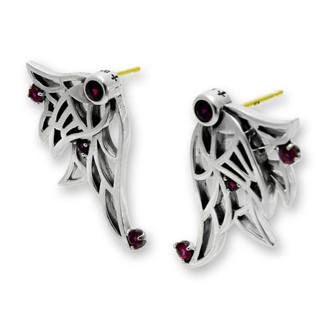【海外訂購】【KONRON】闇夜天使紅寶石純銀耳環(KRE0653-R  0329180000) 0