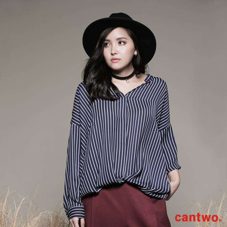 cantwo條紋小立領弧襬襯衫(共二色) 1
