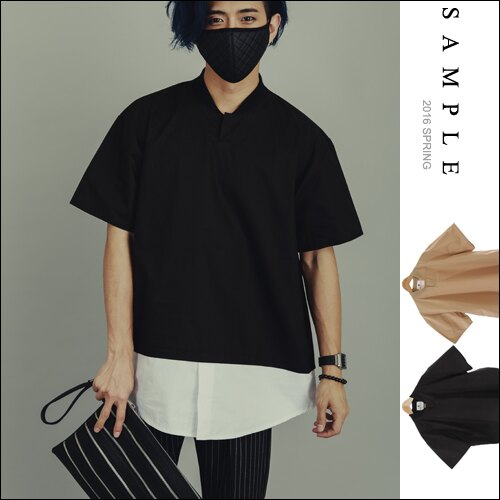 韓國製 寬版短T 襯衫棉無扣亨利領下拼接白杉~TS15712~~ SAMPLE