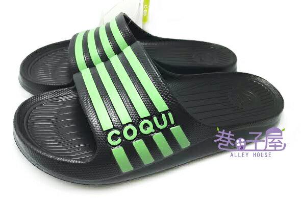 【巷子屋】COQUI青蛙 男款經典條紋超輕量拖鞋 [7231] 黑 進口原料 超值價$190