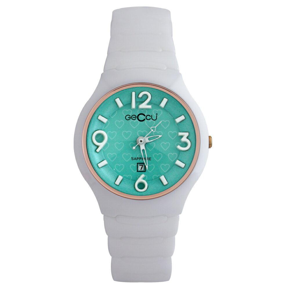 GECCU TC-1115 俏麗可愛心型切玻鏡面白色陶瓷錶帶*4色 1