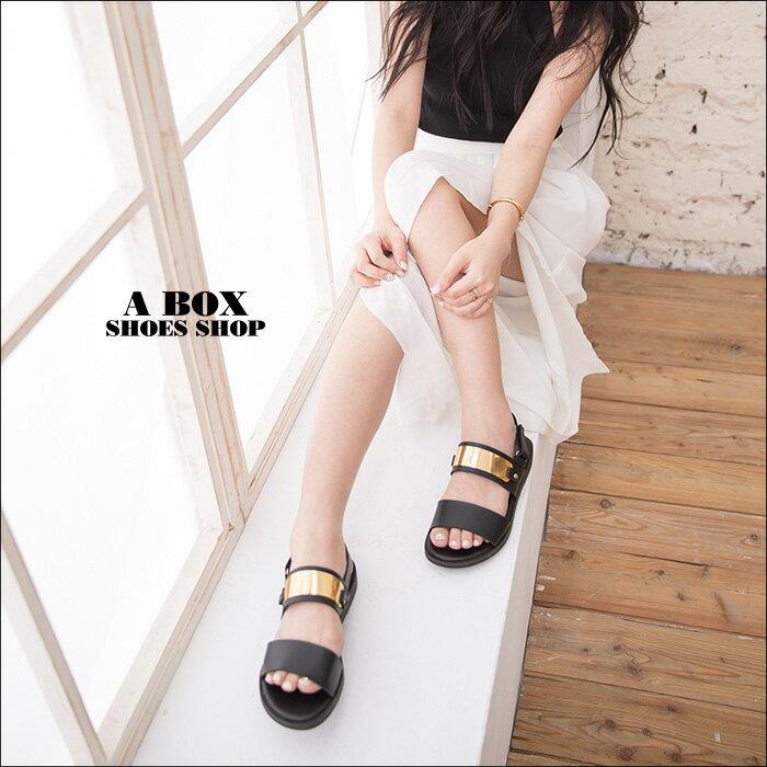 格子舖*【ANW738】MIT台灣製 韓國街頭時尚風 皮革視覺金屬片 魔鬼氈穿拖 一字涼鞋 2色 1