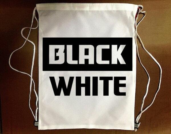 『黑與白』束口袋後背包 防水帆布 輕便休閒