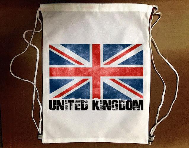 ~英國國旗~束口袋後背包 防水帆布 輕便休閒 ~  好康折扣