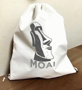 MOAI『毛埃石像』束口袋後背包 防水帆布 輕便休閒
