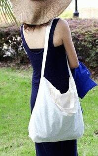極簡。天然原色 純棉胚布 環保袋側背包 輕便休閒 可側背 可手提
