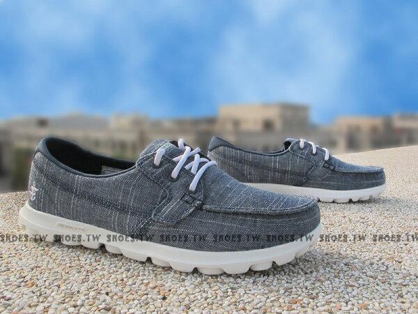 Shoestw【13841NVW】SKECHERS 健走鞋 ON THE GO 瑜珈鞋墊 深藍格紋 帆船