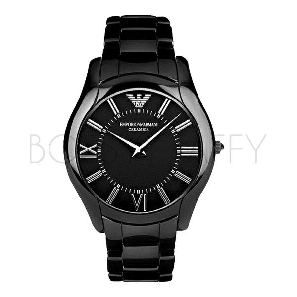 AR1440 AR1441 ARMANI 亞曼尼 羅馬數字陶瓷黑色情侶對錶 石英錶