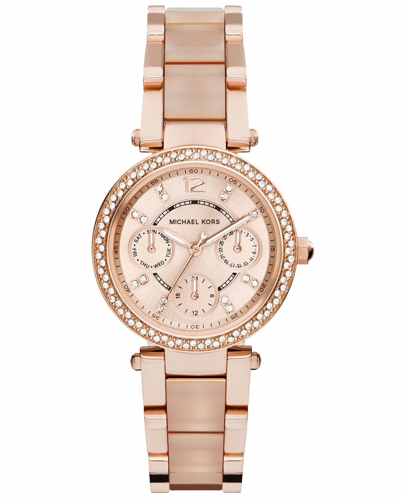 【限時8折 全店滿5000再9折】MichaelKors MK 大粉玫瑰金 水鑽  陶瓷  三環 手錶 腕錶 MK6110 美國Outlet正品代購 1