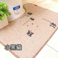WallFree窩自在 夏季款~韓系超唯美吸水防滑馬桶地墊-小黑貓