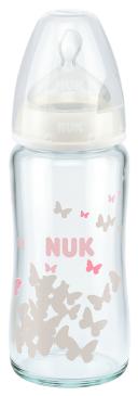 『121婦嬰用品館』NUK 寬口徑玻璃奶瓶 - 240ml (1號中圓洞) 0