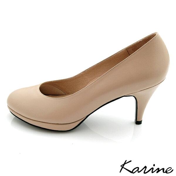 karine(MIT台灣製)全真皮百搭素面高跟鞋-膚色
