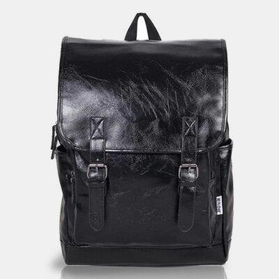 LINAGI里奈子精品【H810-94-35】復古亮面多口袋可放A4電腦夾層雙皮帶磁釦拉鍊後背包