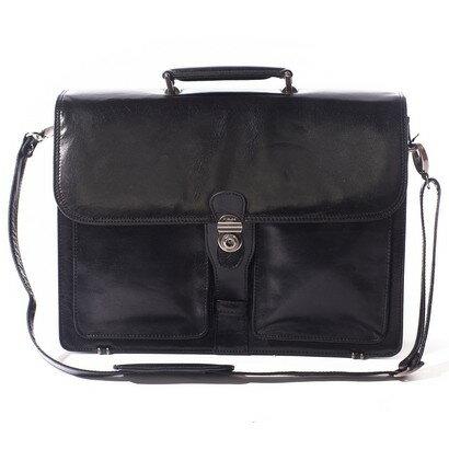 Tassia Classico Single Clasp Flapover Briefcase (black) 0