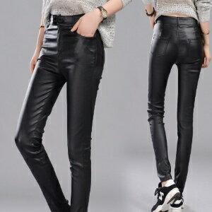 美麗大街~IR3981~顯瘦緊身PU皮褲女黑色外穿打底褲小腳鉛筆褲