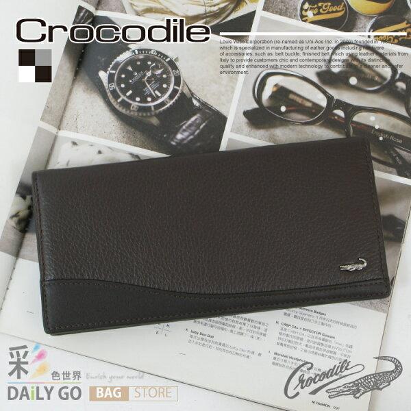 男用長夾 Crocodile 鱷魚 進口真皮 長皮夾 禮物推薦-咖啡 0103-62012