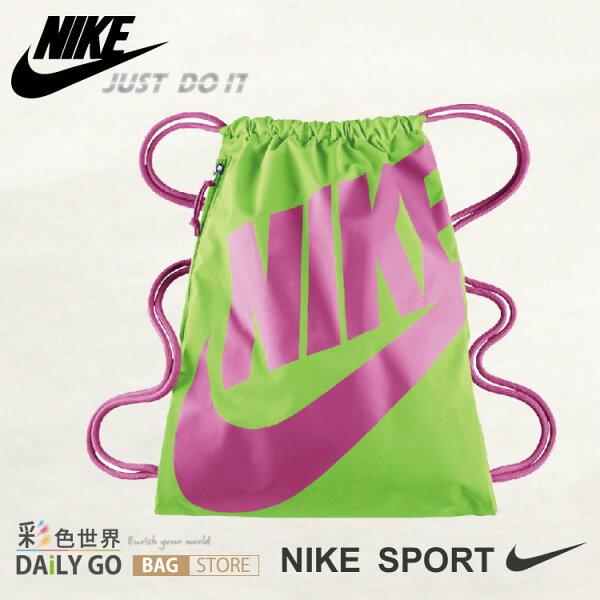NIKE 束口袋 後背包-綠底粉紅字 BA-5128-366