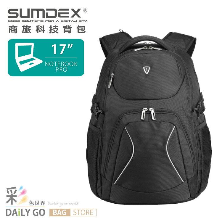 SUMDEX 電腦包 17吋 後背包  款~黑~PON~379~BK~ ~  好康折扣
