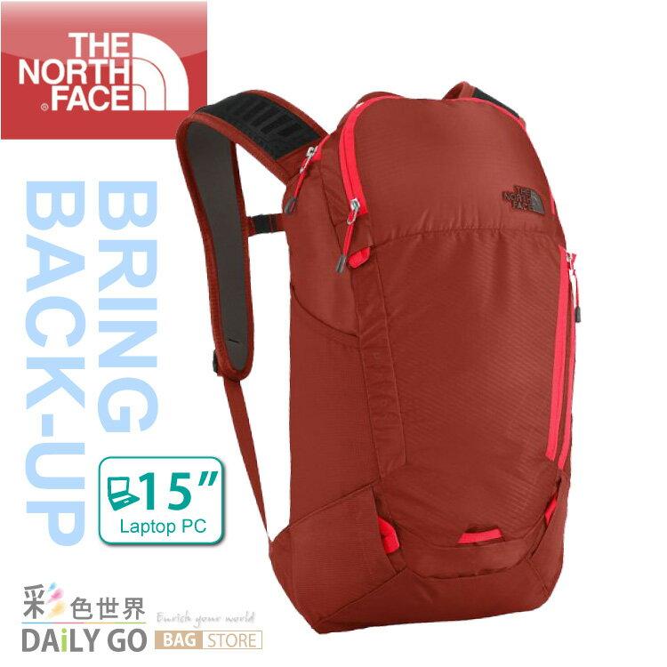THE NORTH FACE 15吋 電腦背包 15公升 後背包-焦棕紅/火紅 C089-N1W