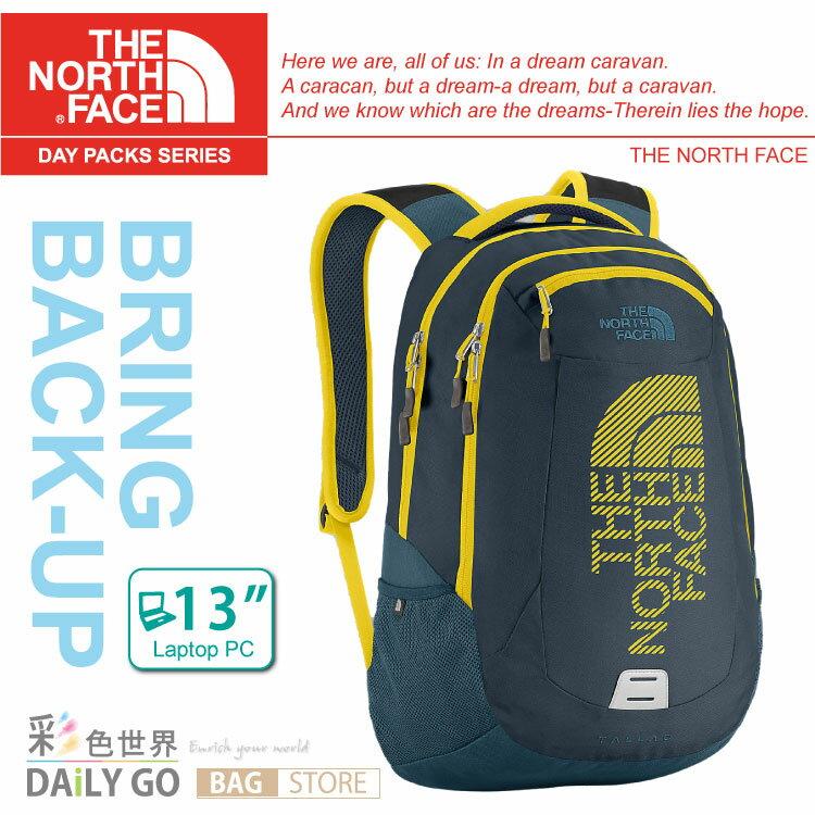 The North Face 後背包 13吋電腦包 24公升-墨藍/酸性黃圖騰 CE89-AEH
