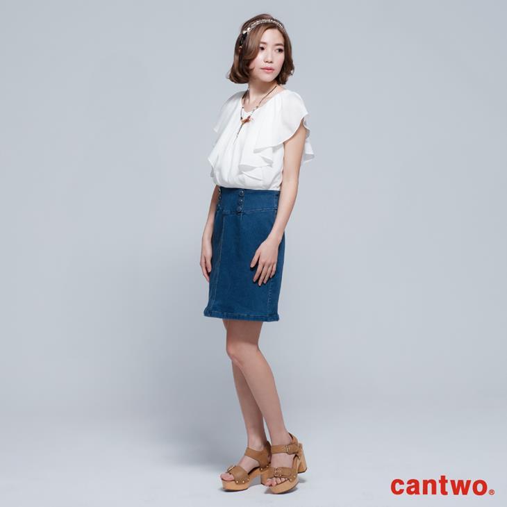 cantwo雪紡荷葉丹寧洋裝(共二色) 1