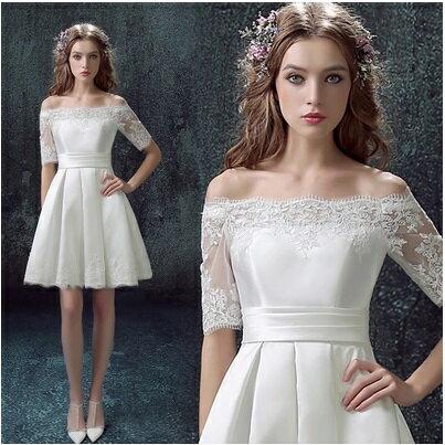 天使嫁衣【AE322】白色一字領蕾絲收腰質感短禮服˙預購訂製款