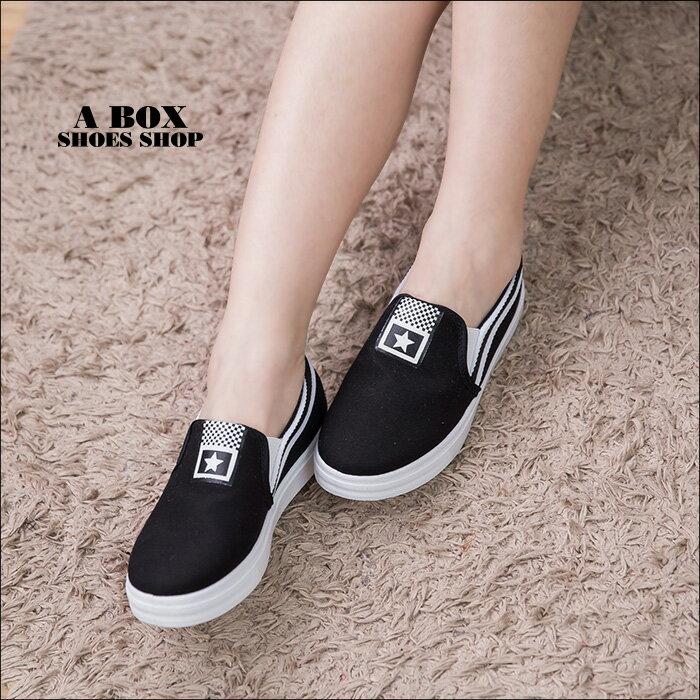 格子舖*【ASA-11】青春校園百搭 星星撞色條紋 布面/帆布鞋 休閒懶人鞋 2色 1