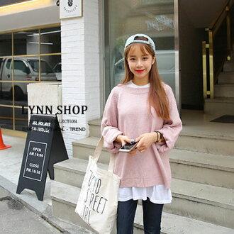 滿899折$220[序號 ShoppingFestival-1]針織上衣純色捲邊寬袖針織毛衣5色預購【1500334】LYNNSHOP預購
