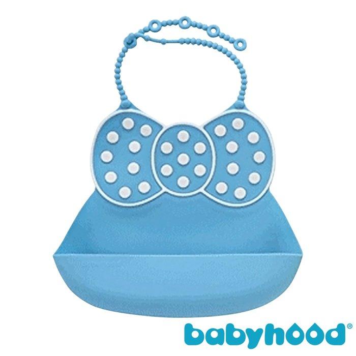 『121婦嬰用品館』傳佳知寶 babyhood 米妮矽膠圍兜 - 藍色 - 限時優惠好康折扣