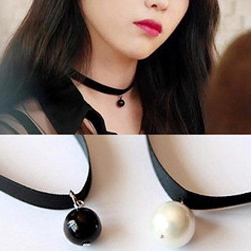 PS Mall 韓版韓劇最新款黑色珍珠吊墜短項鍊 頸鍊 【G1778】