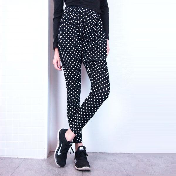 點點哈倫褲 黑白幾何 顯瘦超彈性飛鼠褲 長褲 跳舞運動大尺碼 韓 Anna S.