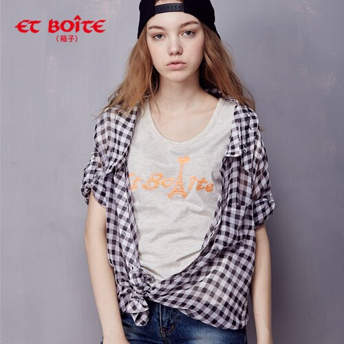 【ET BOiTE 箱子】多穿格紋七分袖雪紡襯衫(附肩帶) 0