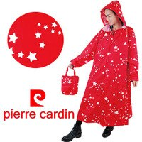 下雨天推薦雨靴/雨傘/雨衣推薦*Pierre cardin* 皮爾卡登夢幻之星尼龍雨衣{俏皮紅}- 共二色 SGS檢驗/雨衣/風雨衣/皮爾卡登/成人