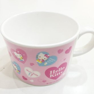 HELLO KITTY 杯子 兒童杯 水杯 漱口杯 冷飲杯 塑膠杯 飲料杯 單手把 餐具 正版日本授權 JustGirl