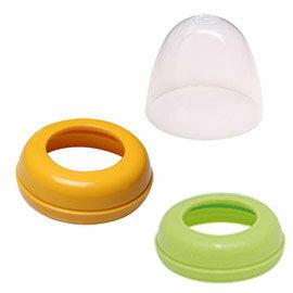 Pigeon貝親  寬口徑母乳實感奶瓶(栓/蓋)/個 奶瓶蓋:透明。奶瓶栓:綠色/橘色。