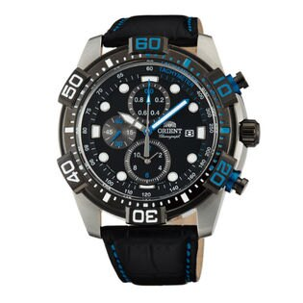 Orient 東方錶(FTT16004B) 潛水運動風三眼石英錶/黑面44.5mm
