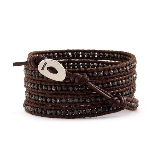 【現貨商品】【CHAN LUU】純銀做舊款塊珠棕色皮繩手環/5圈 (CL-BS-2097-Brown  0474550013) 1